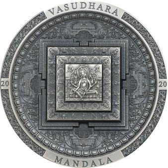 VASUDHARA MANDALA 3 oz Silver Antique Coin Mongolia 2020