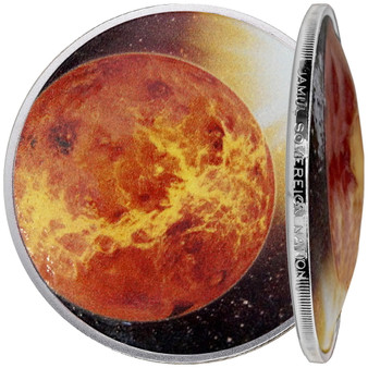 Solar System - VENUS 1 oz Silver Proof Dome shaped Color Coin 2020 USA