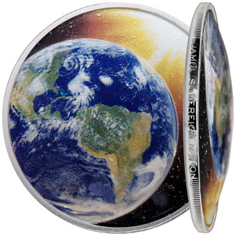 Solar System - EARTH 1 oz Silver Proof Dome shaped Color Coin 2020 USA