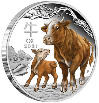 Year of the OX Lunar Series III 1 oz. Silver Proof Color Coin $5 Australia 2021