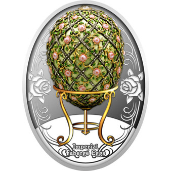 ROSE TRELLIS EGG Faberge Silver Color Coin Niue 2020