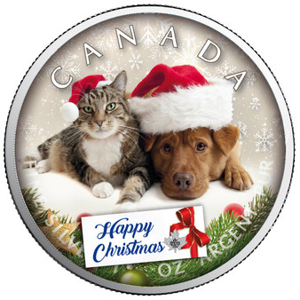 HAPPY CHRISTMAS Maple Leaf 1 oz Silver Coin Canada 2020