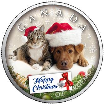 HAPPY CHRISTMAS Maple Leaf 1 oz Silver Coin Canada 2020