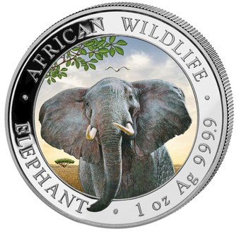 2021 ELEPHANT African Wildlife Coin 1 oz Silver Color coin Somalia