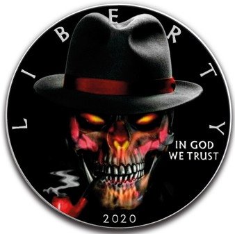 GANGSTER SKULL 1 oz Silver Eagle Silver Colorized Coin USA 2020
