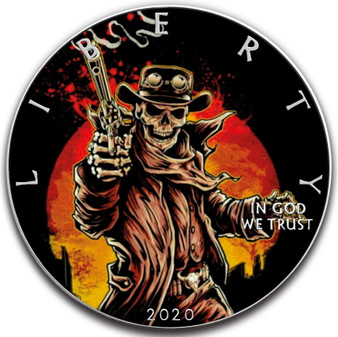 GUN SLINGER SKULL  1 oz Silver Eagle Silver Colorized Coin USA 2020