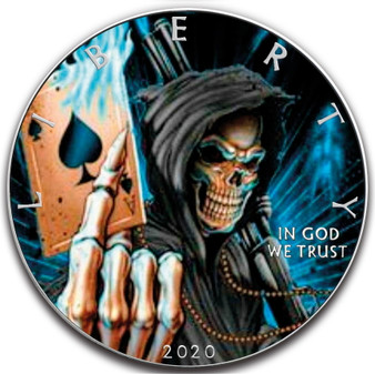 Ace of Death SKULL 1 oz Silver Eagle Silver Colorized Coin USA 2020