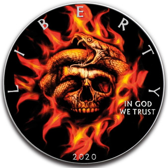 BURNING SKULL and SNAKE 1 oz Silver Eagle Silver Colorized Coin USA 2020