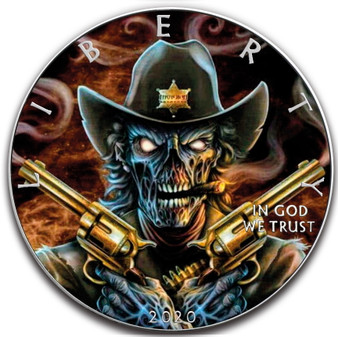 DEPUTY SKULL 1 oz Silver Eagle Silver Colorized Coin USA 2020