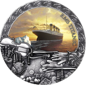 TITANIC 2 oz Antique finish Silver Coin $5 Niue 2020
