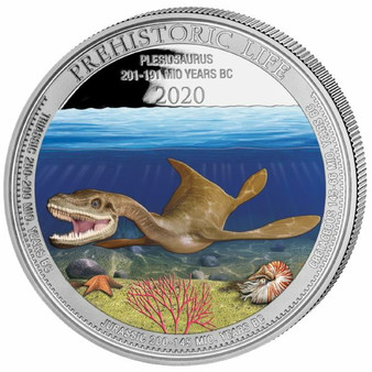 PLESIOSAURUS 1 oz Silver Color Coin 20 Francs 2020 Congo