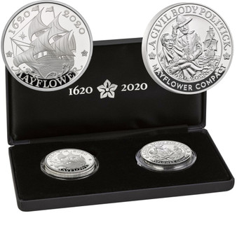 400th Ann. of the Mayflower Voyage Silver Proof  Set  Royal Mint &  US Mint 2020