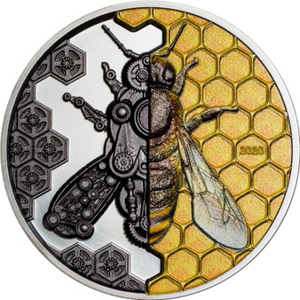 MECHANICAL BEE Clockwork Evolution 3 oz Silver Coin Mongolia 2020