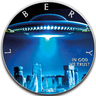 UFO Stonehenge 1 oz Silver Eagle Colorized Coin USA 2020