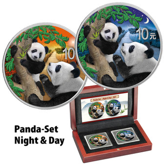 PANDA Night & Day set Silver Color Coins China 2021