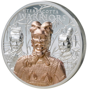 TERRACOTTA WARRIORS 3 oz Silver with Rose Gold Coin $20 Cook Islands 2021