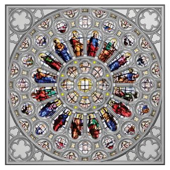 ROSE WINDOW OF Westminster Abbey Silver Coin Solomon Islands 2020