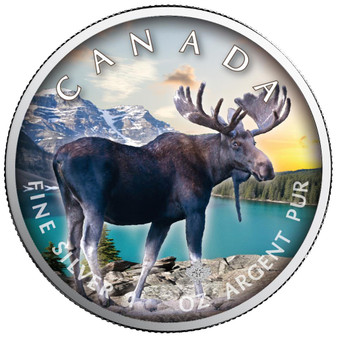 MOOSE in Color Maple Leaf 1 oz. Silver Coin Canada 2021