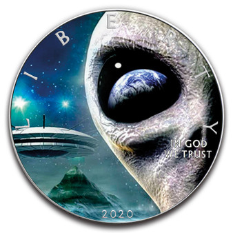 Alien UFO 1 oz. Silver Eagle Colorized Coin USA 2020