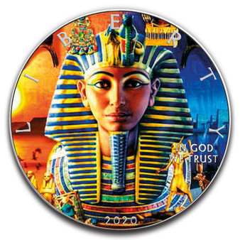 TUTANKHAMUN 1 oz. Silver Eagle Color Coin USA 2020