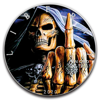 RIM REAPER MANQIUTO Skull 1 oz. Silver Eagle Color Coin USA 2020