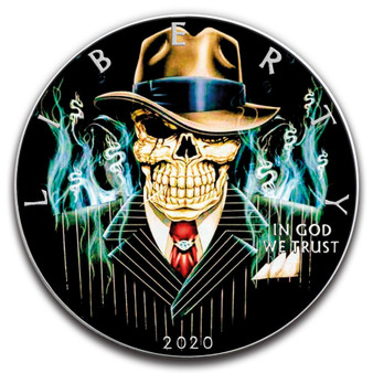MOBSTER GANGSTER SKELETON 1 oz. Silver Eagle Color Coin USA 2020