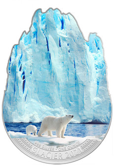 SILVER GLACIER – POLAR BEARS 1 oz  Glacier Shaped  Silver Coin Fiji 2021