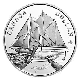 100TH ANNIVERSARY OF BLUENOSE– $1 Silver Proof Coin Canada 2021