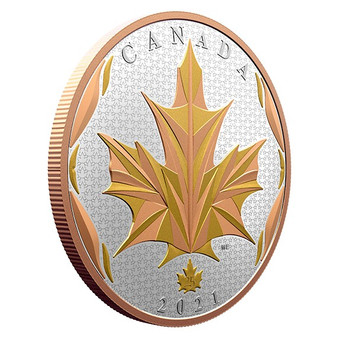 MAPLE LEAVES IN MOTION 5 Oz Silver Yellow and Rose gold plated Coin $50 Canada 2021