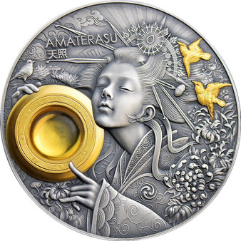 AMATERASU Devine Faces of the Sun 3 oz Antique Silver Coin $5 Niue 2021