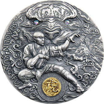SHAOLIN TIGER Martial Arts Styles 2 oz Antiqued Silver Coin $5 Niue 2021
