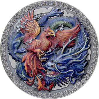 PHOENIX and DRAGON 50g Antiqued Silver Coin 10 Cedis Ghana 2021