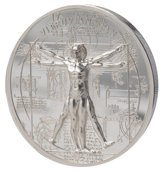 VITRUVIAN MAN X-rays 1 Oz Silver Coin $5 Cook Islands 2021