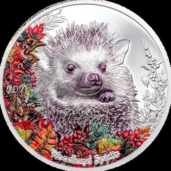 HEDGEHOG Woodland Spirits 1 Oz Silver Coin 500 Togrog Mongolia 2021
