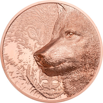 MYSTIC WOLF 1 oz Copper Coin 250 Togrog Mongolia 2021