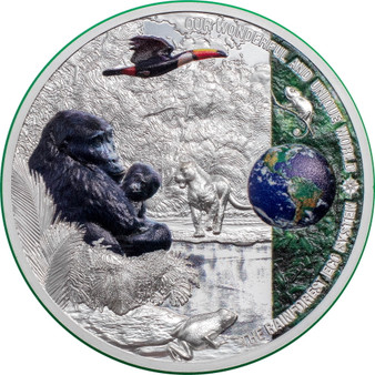 RAINFOREST Our Earth 2 oz $10 Silver coin Palau 2021