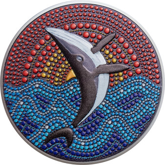 WHALE Dot Art 3 Oz Silver Black proof Coin $20 Palau 2021