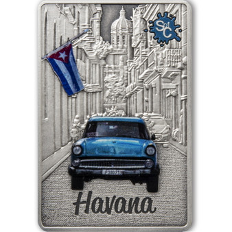 HAVANA Splash of Color 2 oz Silver Coin $5 Samoa 2021