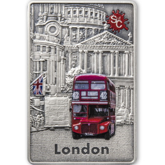 LONDON Splash of Color 2 oz Silver Coin $5 Samoa 2021