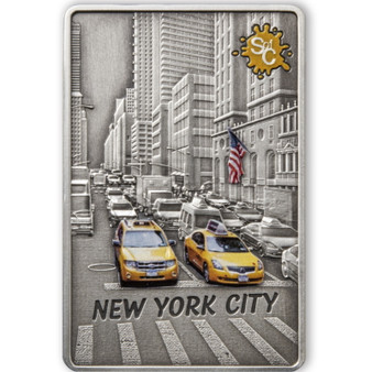 NEW YORK Splash of Color 2 oz Silver Coin $5 Samoa 2021