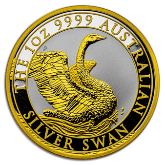 SWAN 1 oz Gilded Silver Coin Australia 2020