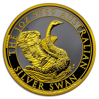 SWAN 1 oz Black Ruthenium Gold Gilded Silver Coin Australia 2020