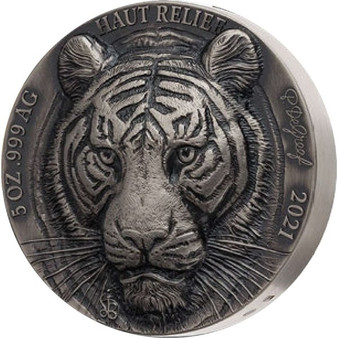 TIGER – BIG FIVE ASIA P. De Greef HAUT RELIEF 5 oz Silver Coin Ivory Coast 2021