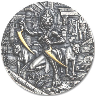 SEKHMET Gods of Anger 2 oz High Relief Silver Coin Niue 2021