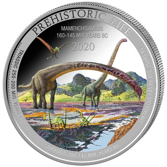 MAMENCHISAURUS 1 oz Silver Color Coin 20 Francs 2020 Congo