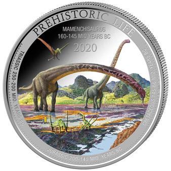 MAMENCHISAURUS 1 oz Silver Color Coin 20 Francs 2020 Congo