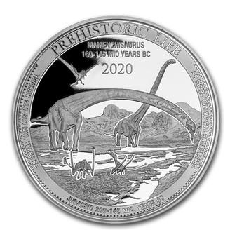 MAMENCHISAURUS 1 oz Silver Coin 20 Francs 2020 Congo