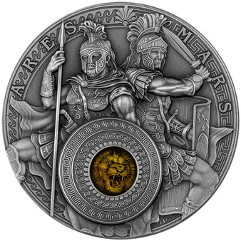 ARES and MARS 2 oz Antique finish Silver Coin $5 Niue 2021