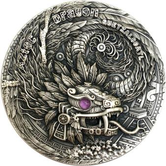 QUETZALCOATL Aztec Dragon - Amethyst 2 oz Silver Coin $2 Niue 2020