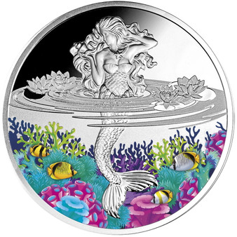 MERMAID 1 oz Proof Silver Colored Coin Niue 2021